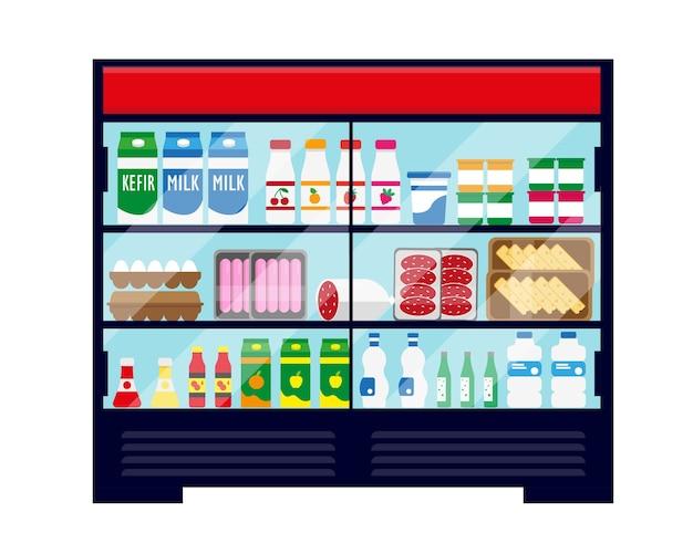 Refrigerador de escaparate de supermercado lleno de alimentos y bebidas frescas.