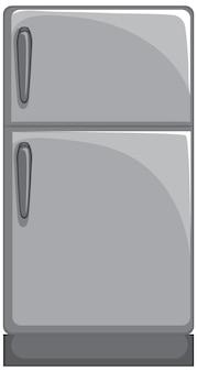 Refrigerador gris en estilo de dibujos animados aislado