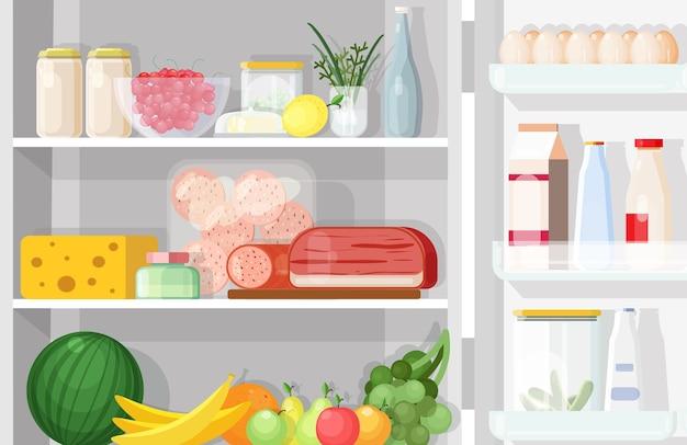 Refrigerador moderno con puerta abierta llena de comida