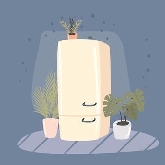 Refrigerador y plantas de interior