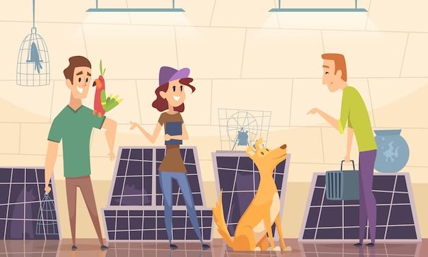 Refugio de animales. los propietarios eligen cachorro en el fondo de dibujos animados de la jaula