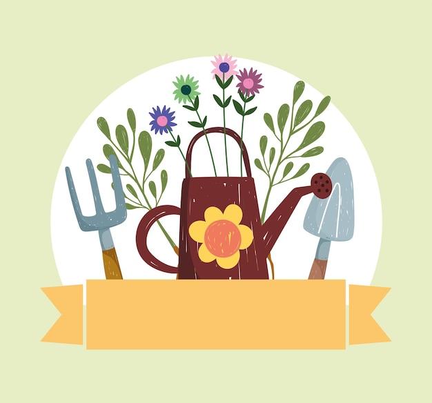 Regadera y herramientas de jardinería