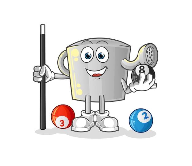 La regadera juega al carácter de billar. mascota de dibujos animados