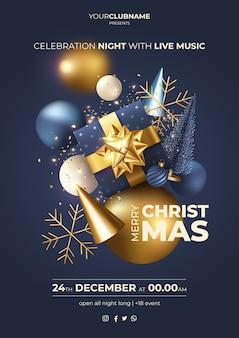 Regalo y adornos de cartel de fiesta de navidad realista