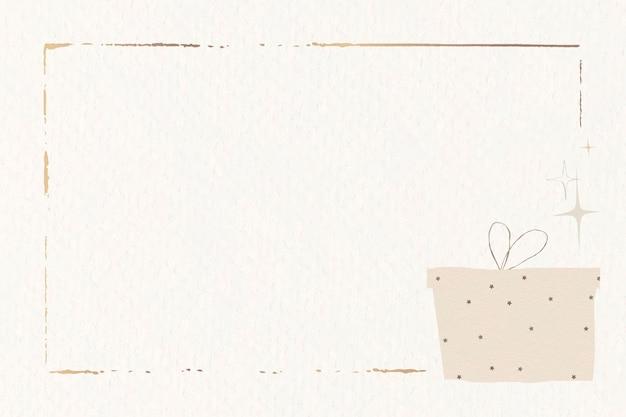 Regalo festivo marco dorado fondo beige liso