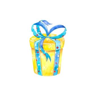 Regalo de navidad, caja con cinta, lazo