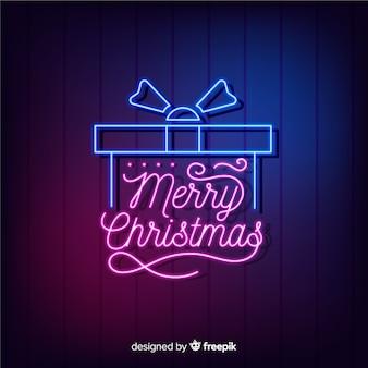Regalo de navidad de neón con letras