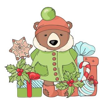 Regalo oso feliz navidad de dibujos animados