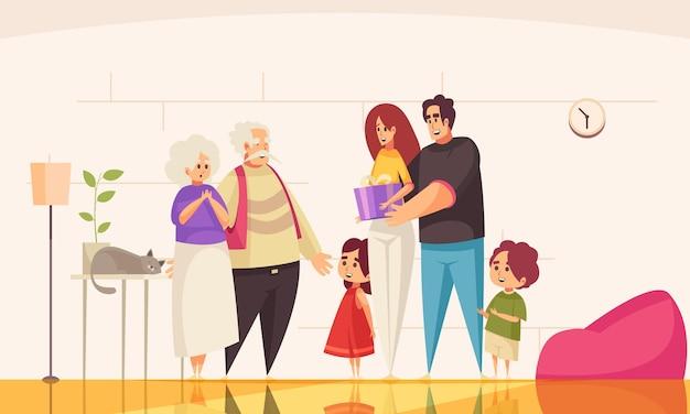 Regalo presente composición de personas mayores con vista interior de la habitación del hogar con personajes de doodle de miembros de la familia