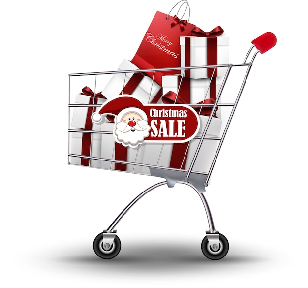 Regalo realista de navidad en carrito de compras