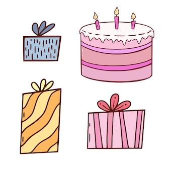Regalos de cumpleaños y pastel. elementos ilustrados en estilo de dibujos animados