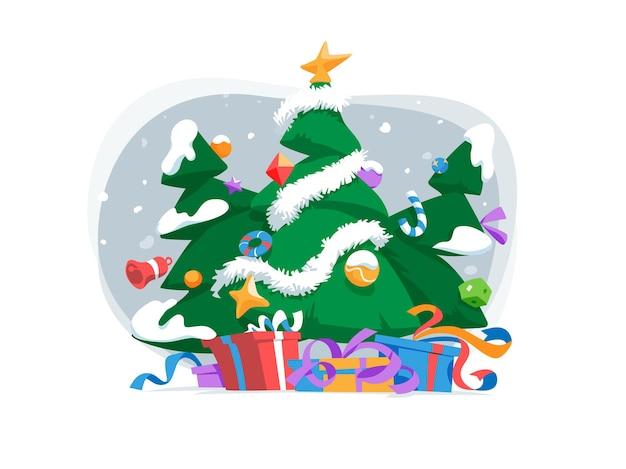 Regalos bajo decorados con bolas, estrellas y árboles de navidad de nieve.