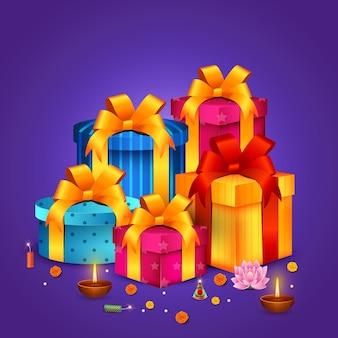 Regalos felices de diwali, festival de las luces, celebración de bhai dooj