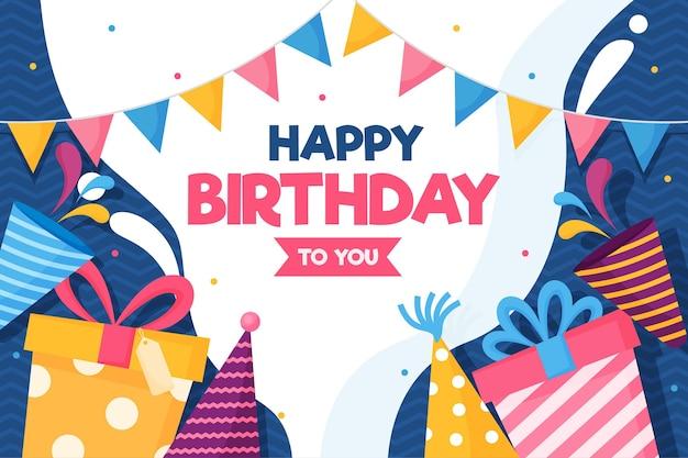 Regalos de feliz cumpleaños y gorros de fiesta