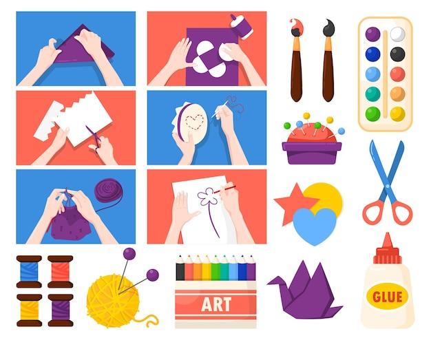 Regalos hechos a mano, regalos, arte creativo, negocios, actividades para aliviar el estrés, conjunto plano con papel, tejido, tejido, pintura, ilustración