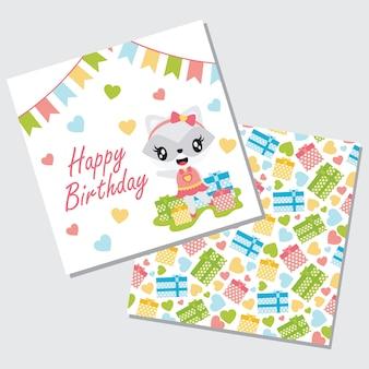 Regalos lindos del mapache, de la guirnalda y de la caja de la muchacha para el sistema de tarjeta del feliz cumpleaños