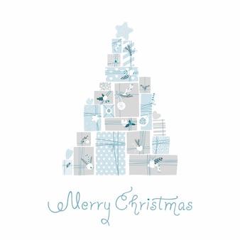 Regalos de navidad. estilo escandinavo ilustración, dibujo a mano.