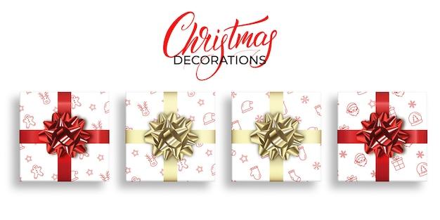 Regalos de navidad con patrones de navidad y decoraciones de arcos realistas brillantes