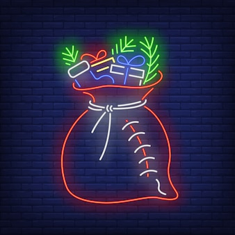 Regalos de navidad saco con abeto en estilo neón