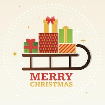 Regalos de navidad sobre un trineo
