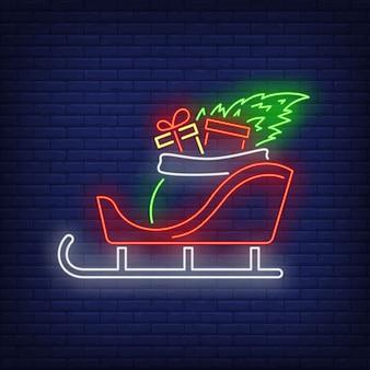 Regalos de navidad en trineo en estilo neón