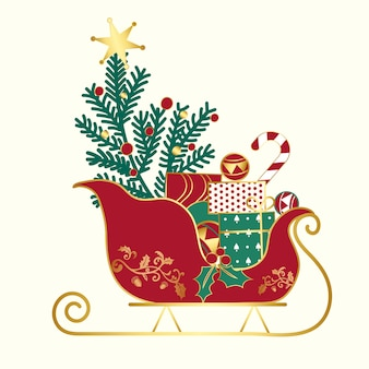 Regalos de navidad en un vector de trineo