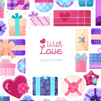 Regalos románticos presenta un marco plano de embalaje con un cuadrado redondo rectangular y cajas con forma de corazón de amor