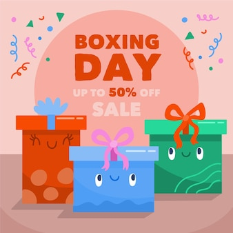 Regalos de venta del día del boxeo dibujados a mano