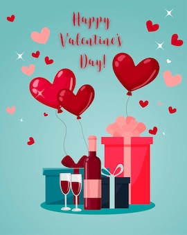 Regalos y vino, dos copas, globos en forma de corazón. feliz día de san valentín