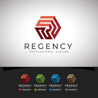 Regency r letra hexagon logo