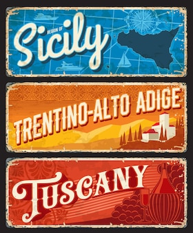 Regiones de sicilia, trentino-alto adige, toscana italia