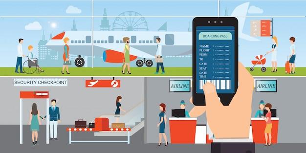 Regístrese en la aplicación en un teléfono móvil o teléfono inteligente con un moderno banner electrónico de boleto de pase de abordar