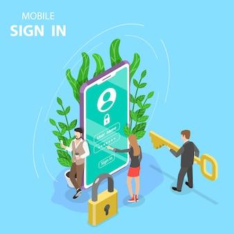Registro móvil de concepto plano isométrico, iniciar sesión en la cuenta.