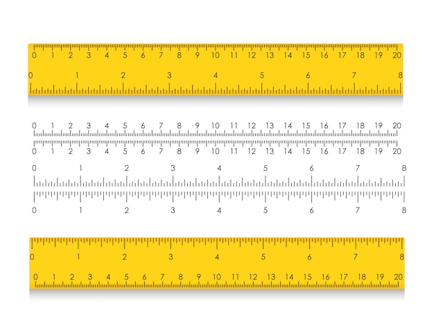 Regla de medición escolar con centímetros y pulgadas. indicadores de tamaño con diferentes distancias unitarias. ilustración