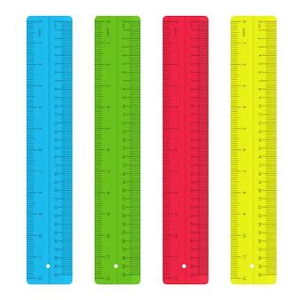 Reglas de colores. suministros de herramientas de medición.
