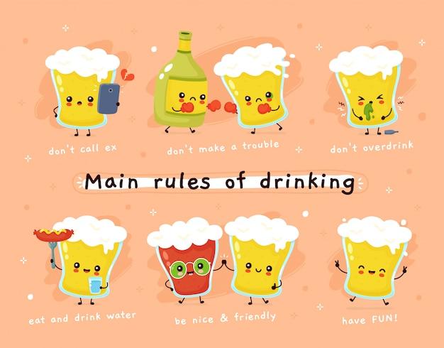 Reglas principales de la bebida. vaso de cerveza personaje.