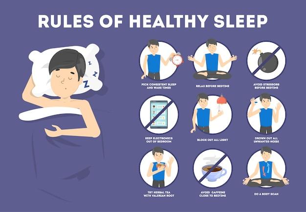 Reglas de sueño saludable. rutina a la hora de dormir para dormir bien por la noche. hombre durmiendo en la almohada. folleto para personas con insomnio. ilustración de vector plano aislado