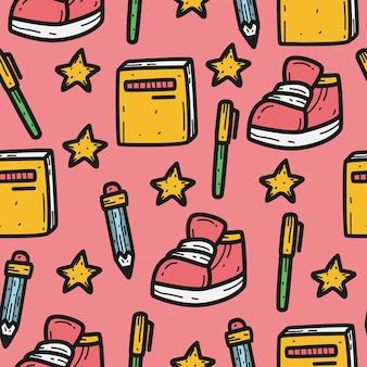 Regreso al diseño de patrón de doodle de dibujos animados de escuela
