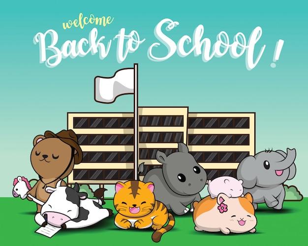 Regreso a la escuela., animal de dibujos animados lindo.