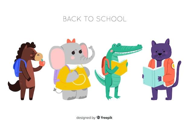Regreso a la escuela animales listos para estudiar colección