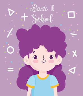 Regreso a la escuela, aritmética de niña estudiante signos ilustración de vector de dibujos animados de educación primaria