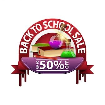 Regreso a la escuela, banner de descuento redondo para su sitio web con libros y frascos de productos químicos.