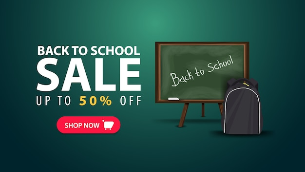 Regreso a la escuela, banner web de descuento en estilo minimalista con la junta escolar