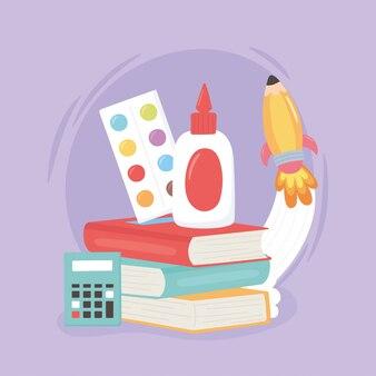 Regreso a la escuela, calculadora de pegamento de libros de colores de paleta y dibujos animados de educación de cohetes