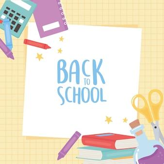 Regreso a la escuela, calculadora tijeras libros crayones educación dibujos animados fondo de cuadrícula
