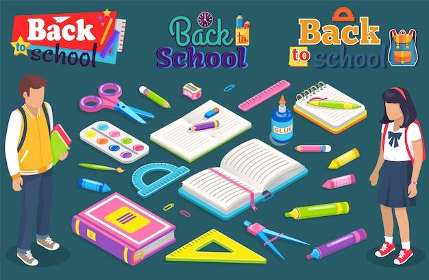 Regreso a la escuela chico chica con suministros para la lección