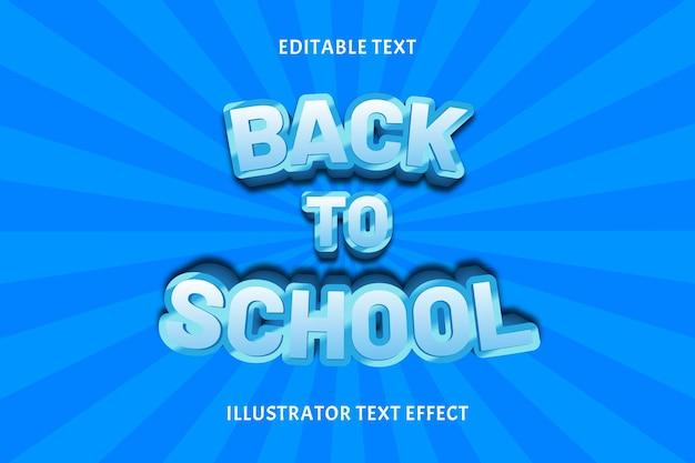 Regreso a la escuela color azul efecto de texto editable