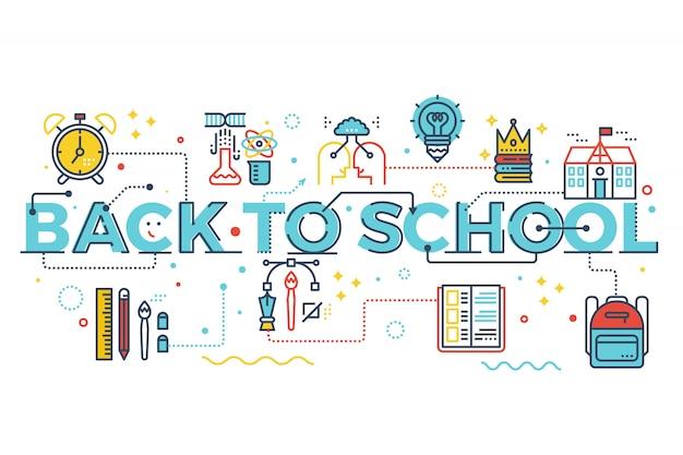 Regreso a la escuela, concepto de educación palabras ilustración diseño de letras