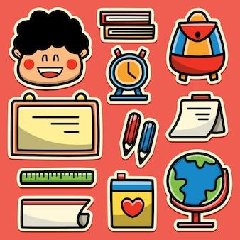 Regreso a la escuela de dibujos animados doodle diseño de etiqueta