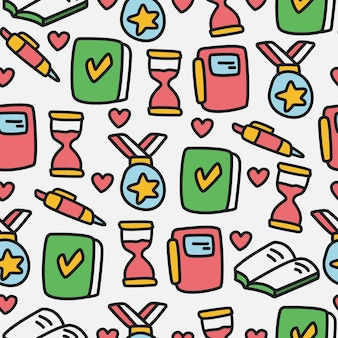 Regreso a la escuela doodle dibujos animados de patrones sin fisuras
